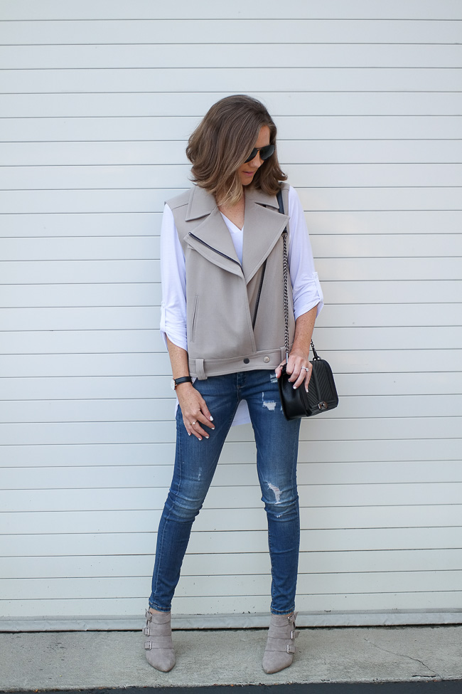 Fall Style A Belted Moto Vest And Skinny Jeans Wishes