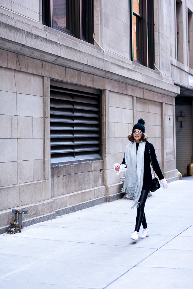 black and white street style, quilted crossbody, adidas neo advantage sneakers, lace bell sleeved blouse