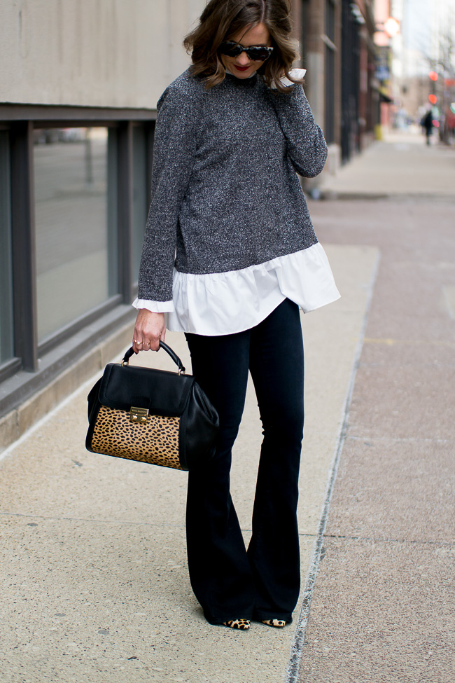 Lookbook Store ruffled sweater, true religion flared jeans, leopard accents