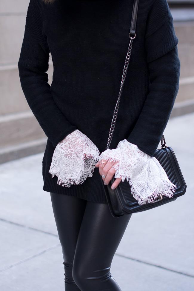 leather leggings, white lace bell sleeve blouse, black oversized sweater, Rebecca Minkoff Love bag