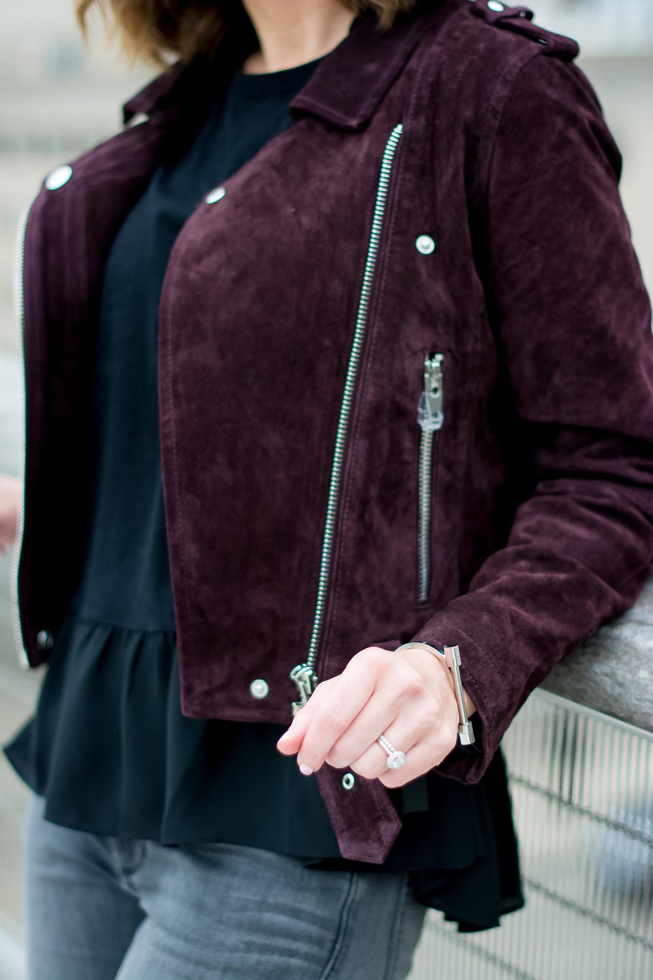 Blank NYC Suede Moto Jacket, black ruffle peplum top