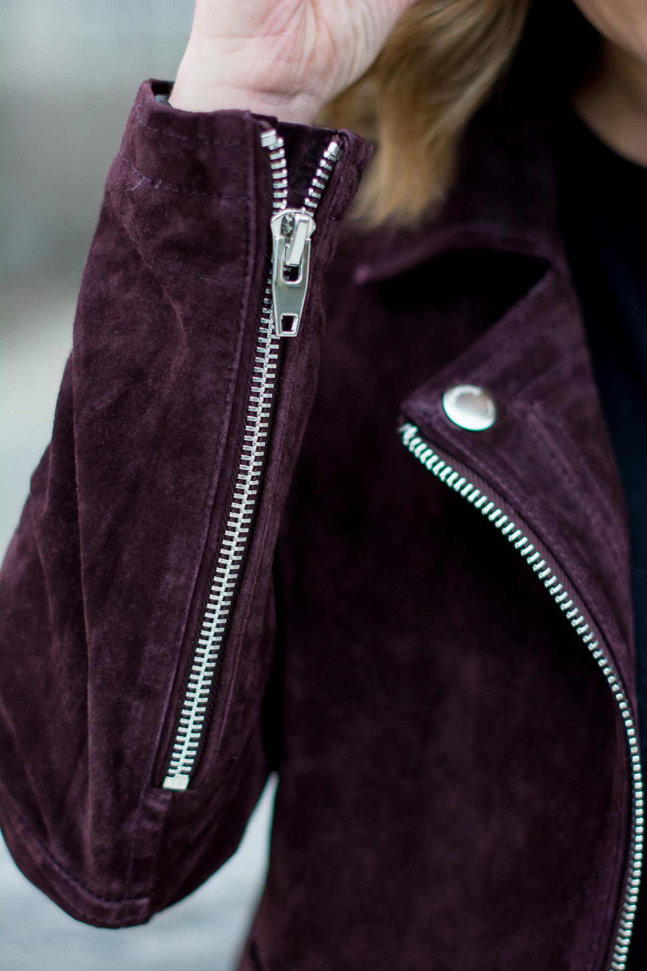 Blank NYC burgundy suede moto jacket