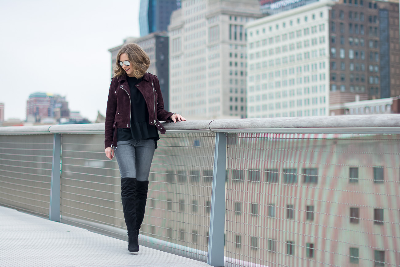 Blank NYC Suede Moto Jacket, Chicago skyline, The Art Institute, Black over the knee boots