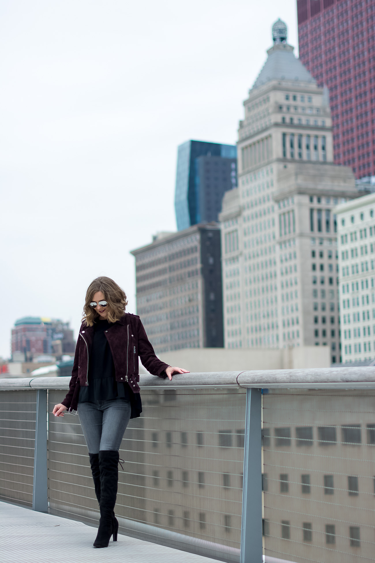 Blank NYC Suede Moto Jacket, Chicago skyline, The Art Institure, Black over the knee boots