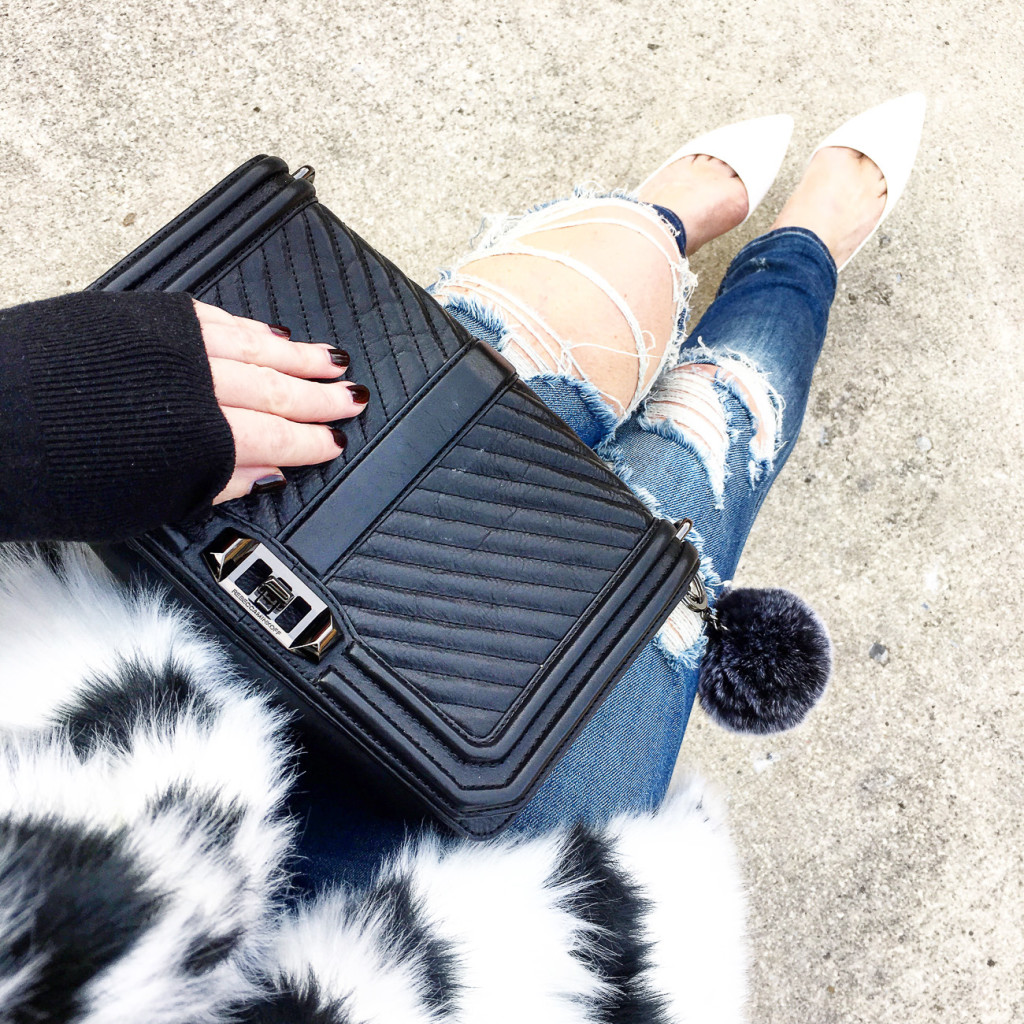 Forever 21 faux fur, black and white fur vest, Rebecca Minkoff, quilted crossbody, white pumps