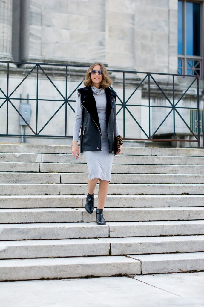 transitional spring outfit, SheIn sheerling moto vest, grey cowl neck midi dress, the Chicago Field Museum, justfab pointed booties, street style, Clare V foldover leopard clutch