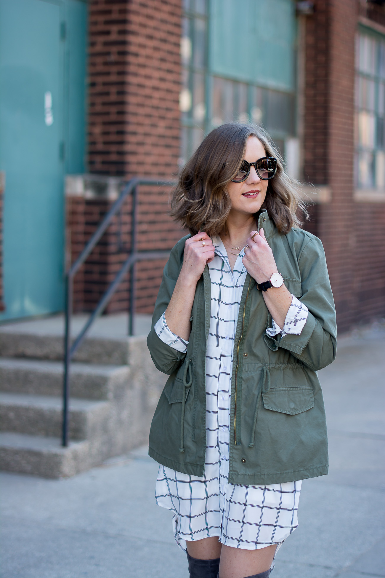 designer-dupe-round-sunglasses-cargo-jacket-black-and-white-grid-print-shirtdress-gray-over-the-knee-boots-delicate-jewelry