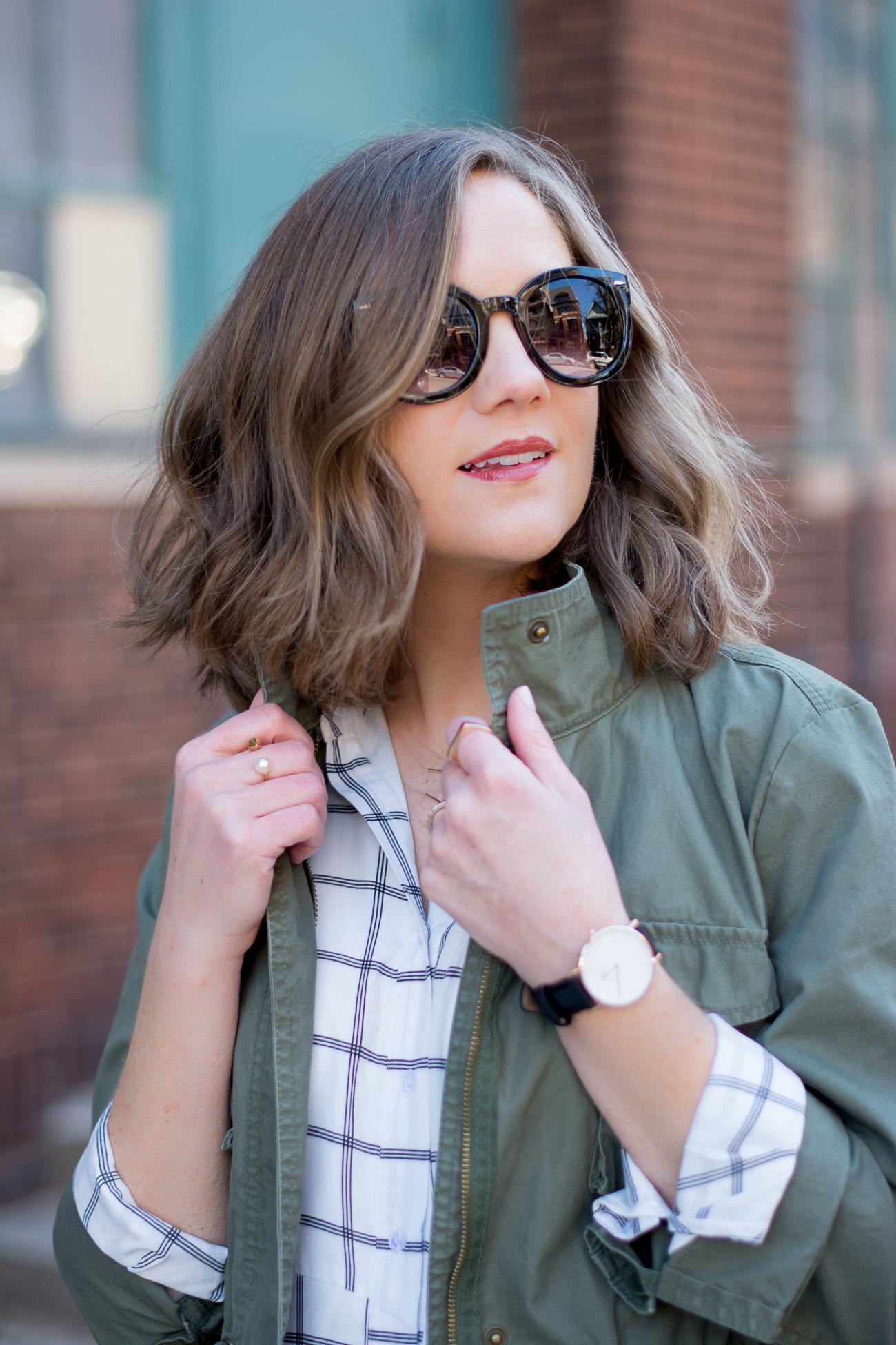 cargo-jacket-black-and-white-grid-print-shirtdress-delicate-jewelry-designer-dupe-round-sunglasses