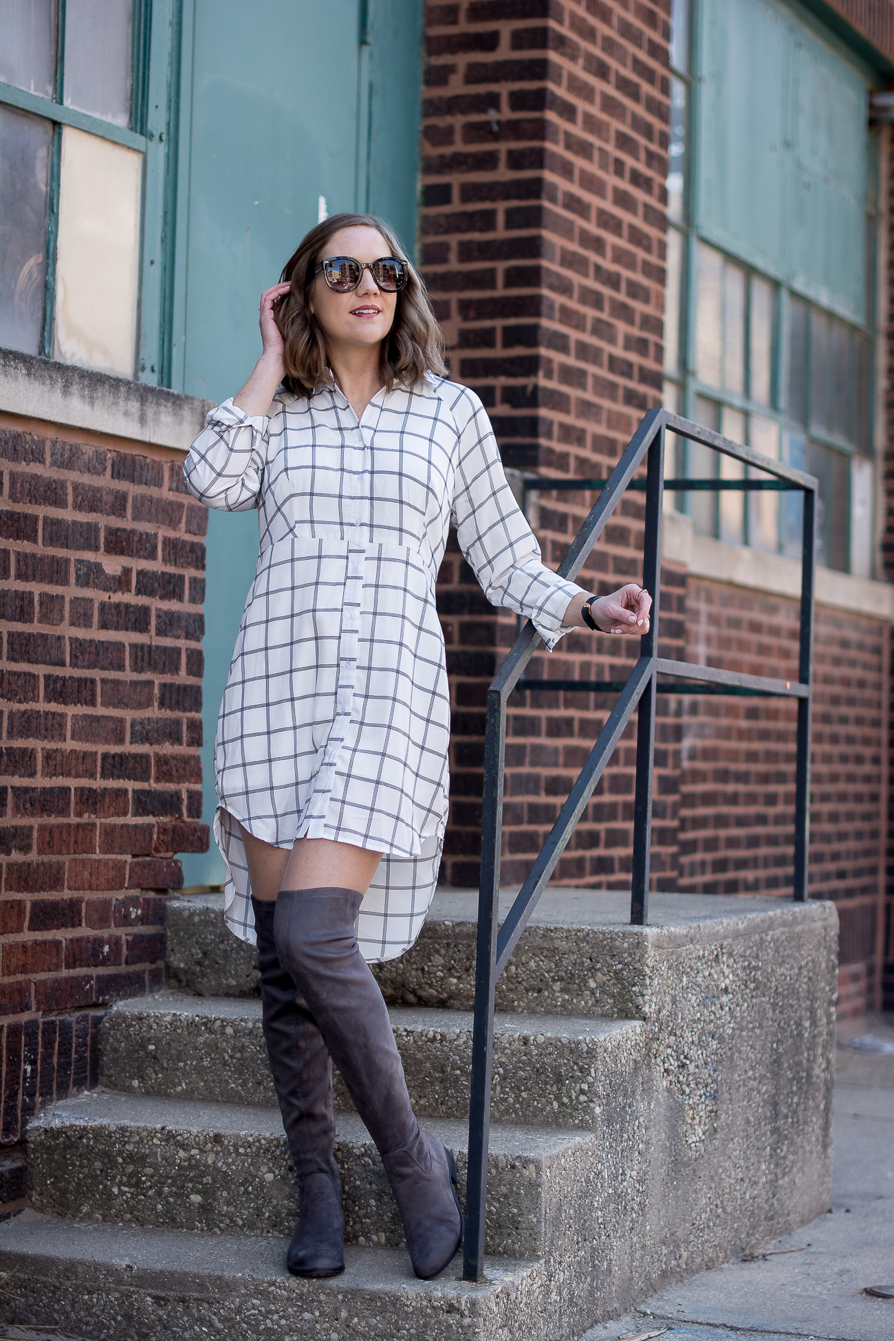 black-and-white-grid-print-shirtdress-gray-over-the-knee-boots-delicate-jewelry