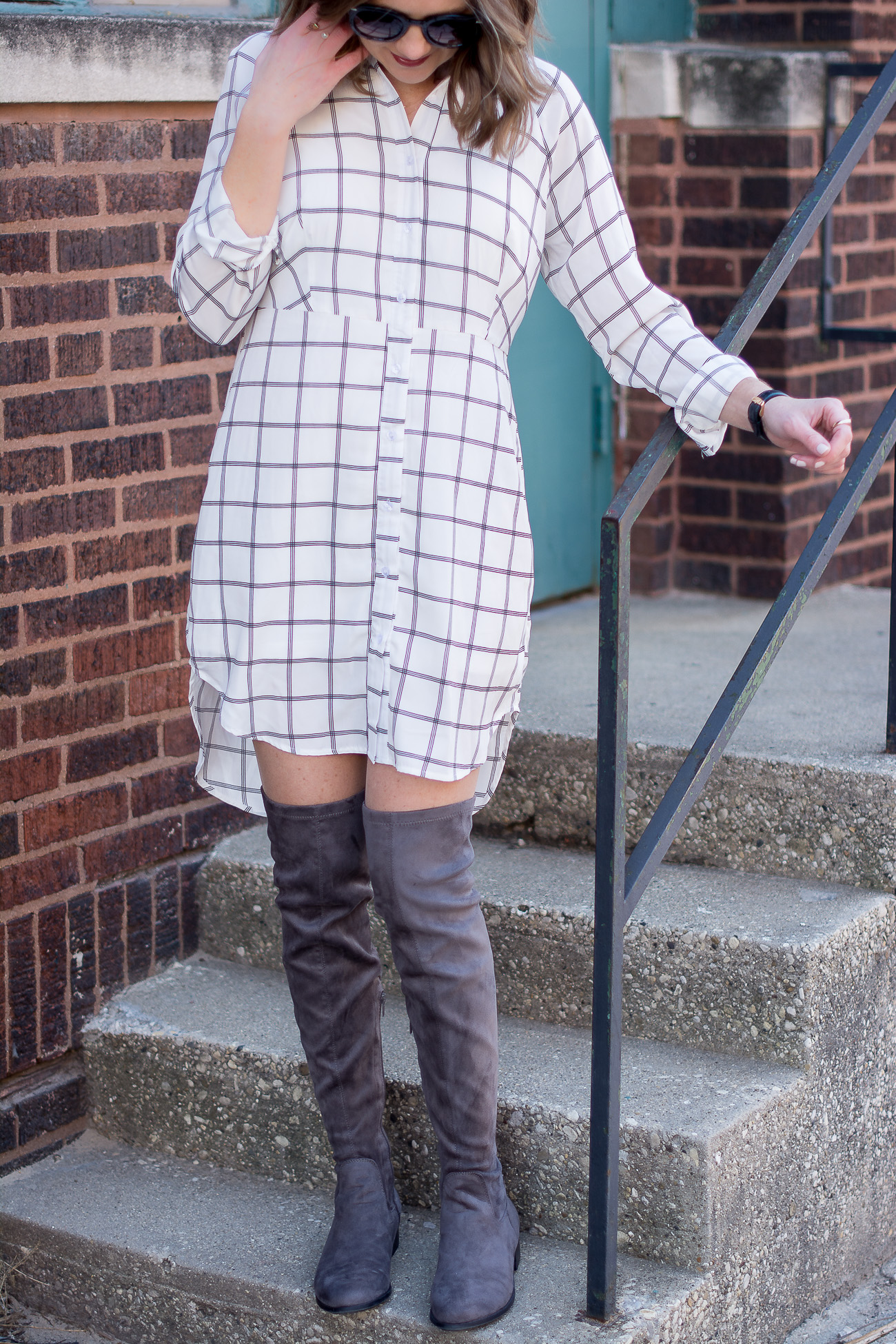 designer-dupe-round-sunglasses-black-and-white-grid-print-shirtdress-gray-over-the-knee-boots-delicate-jewelry