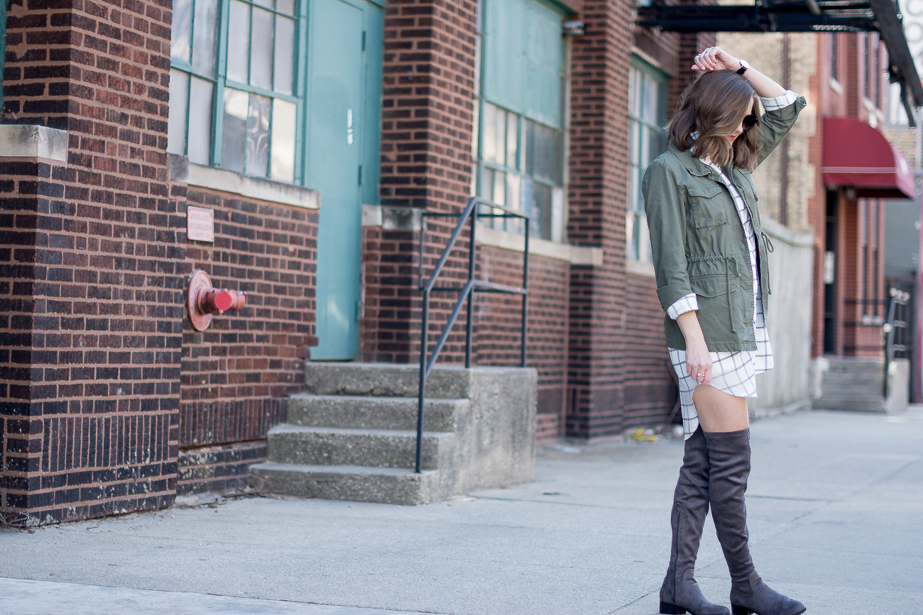 cargo-jacket-black-and-white-grid-print-shirtdress-gray-over-the-knee-boots-delicate-jewelry-25