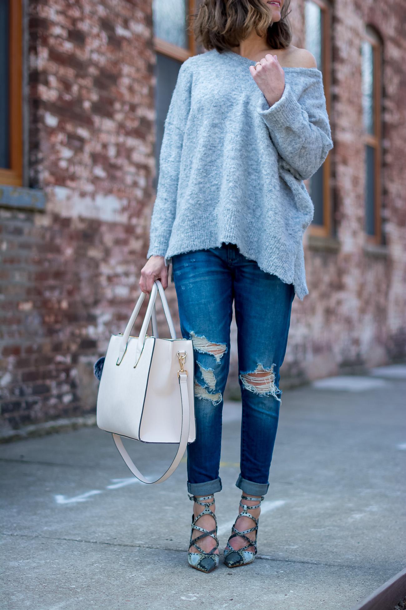grey-off-the-shoulder-sweater-boyfriend-jeans-snakeskin-heels-blush-tote-mirrored-aviators