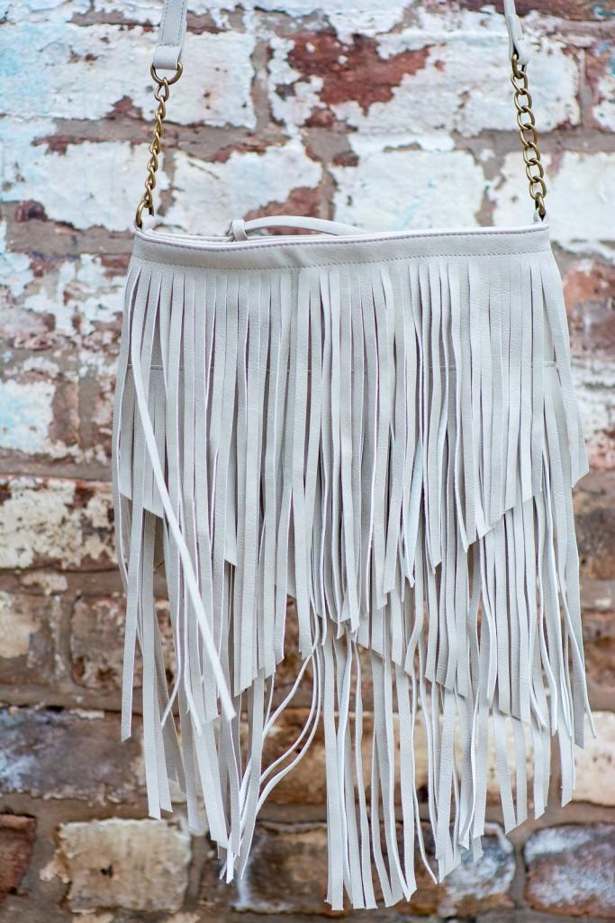 target white fringe crossbody bag