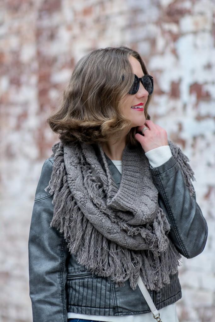 intermix knit fringe infinity scarf, fringe snood, gray vegan leather jacket
