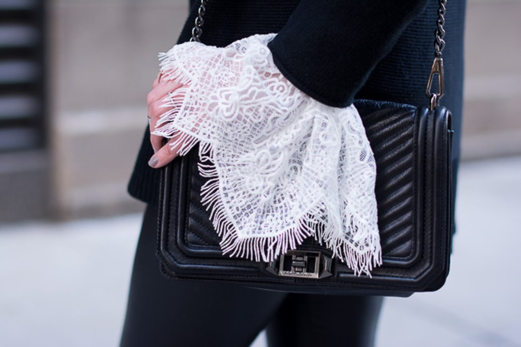 oversized lace cuffs, bell sleeves, black and white street style, rebecca minkoff, quilted crossbody