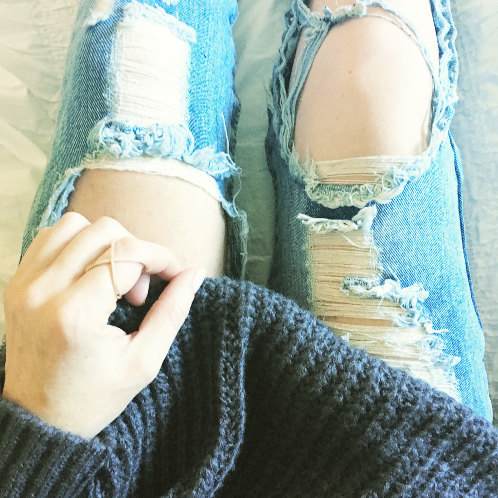 ripped denim, oversized knit