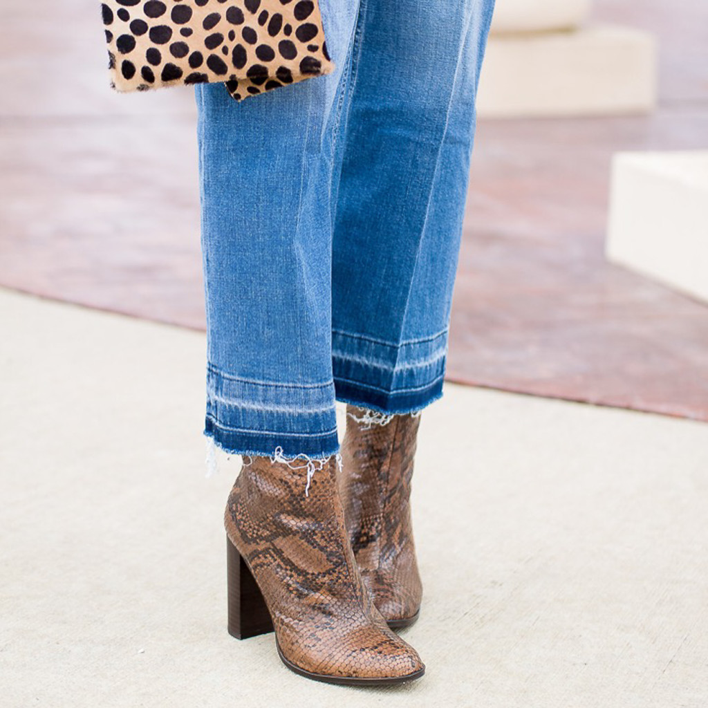 snakeskin booties, kick flares, crop flares, leopard clutch, spring denim trends