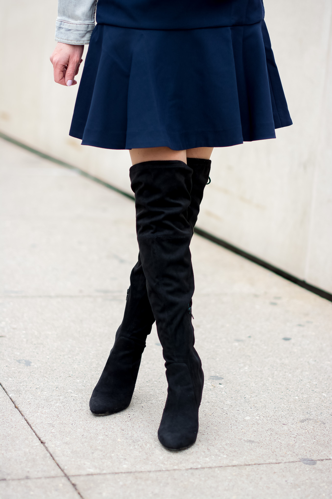 banana-republic-fit-and-flare-dress-steve-madden-over-the-knee-faux-suede-black-boots-vintage-meets-modern-outfit