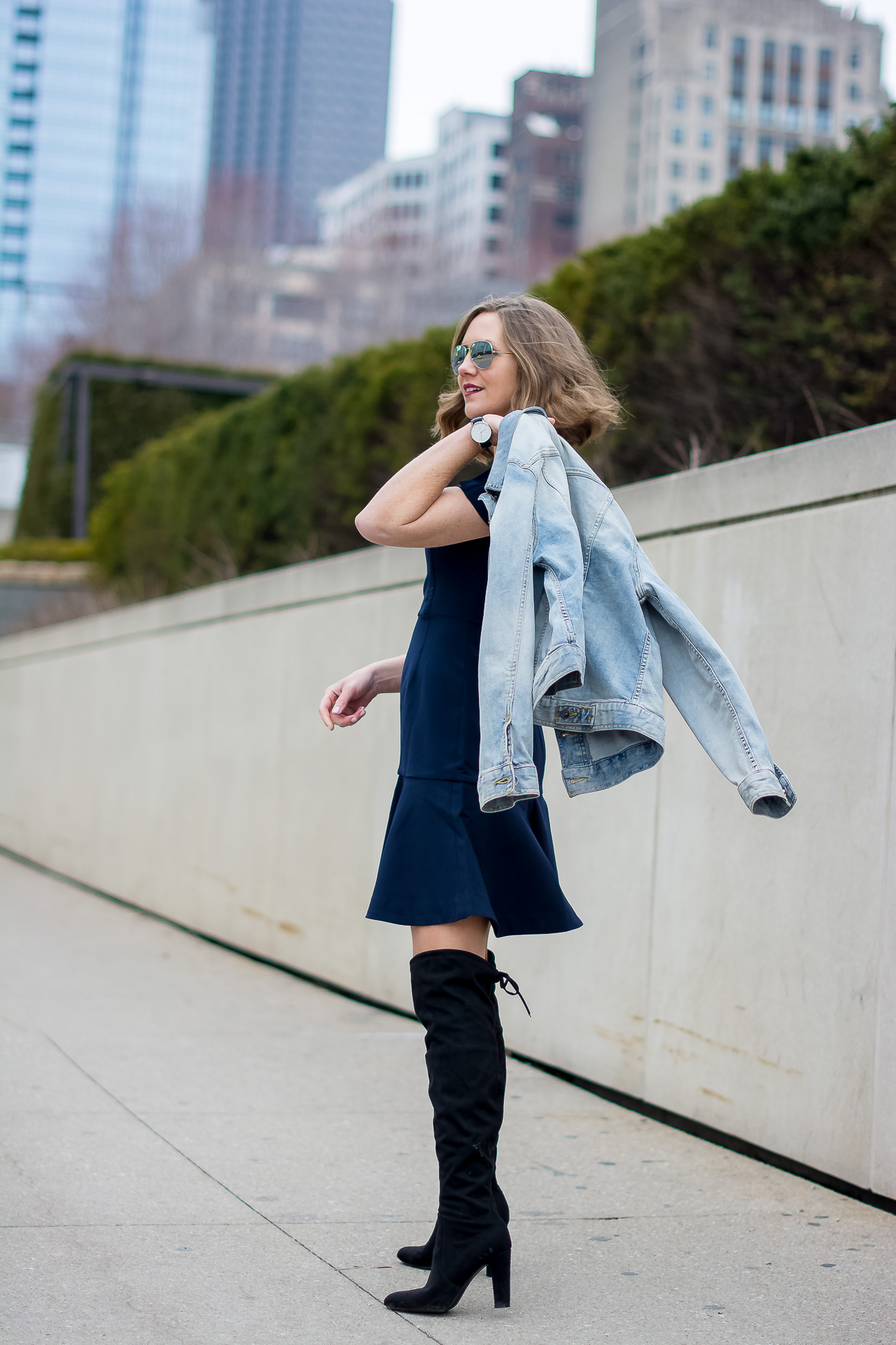 target-light-wash-denim-jacket-banana-republic-fit-and-flare-dress-steve-madden-over-the-knee-faux-suede-black-boots-vintage-rhinestone-brooches-mirrored-aviators-vintage-meets-modern-outfit