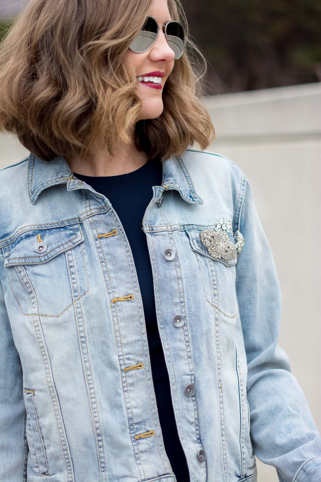 target-light-wash-denim-jacket-banana-republic-fit-and-flare-dress-vintage-rhinestone-brooches-mirrored-aviators-vintage-meets-modern-outfit