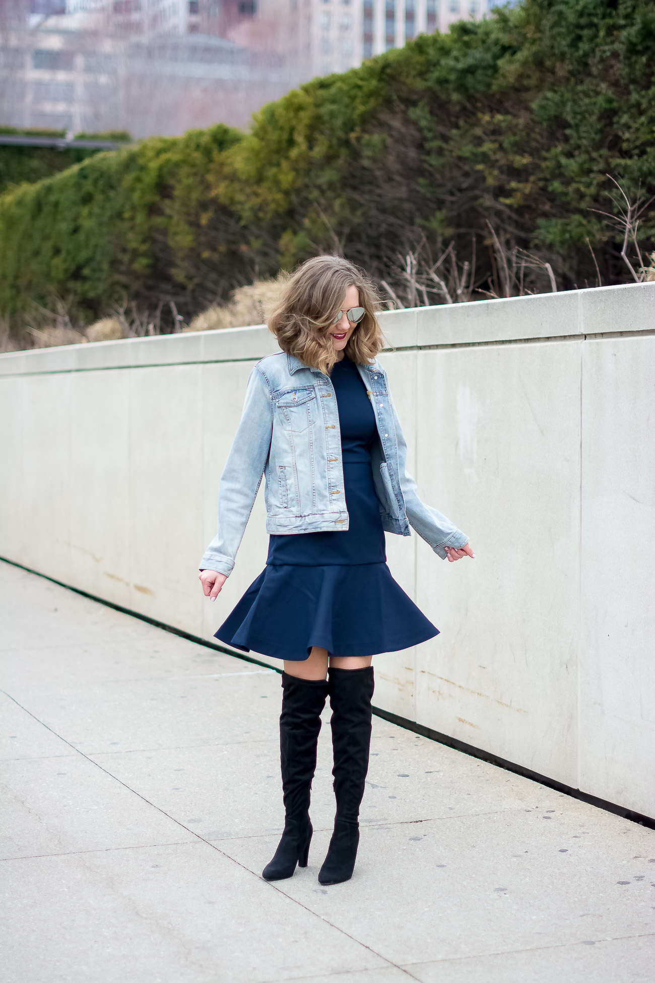 target-light-wash-denim-jacket-banana-republic-fit-and-flare-dress-steve-madden-over-the-knee-faux-suede-black-boots-vintage-rhinestone-brooches-mirrored-aviator-vintage-meets-modern-outfit