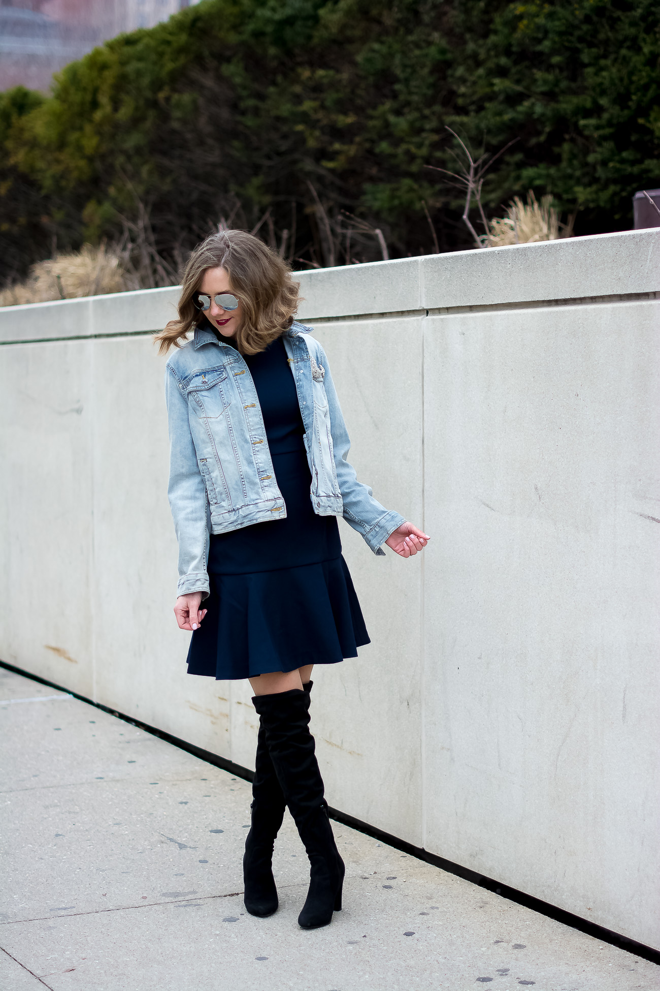 target-light-wash-denim-jacket-banana-republic-fit-and-flare-dress-steve-madden-over-the-knee-faux-suede-black-boots-vintage-rhinestone-brooches-mirrored-aviators-vintage-meets-modern-outfit-6