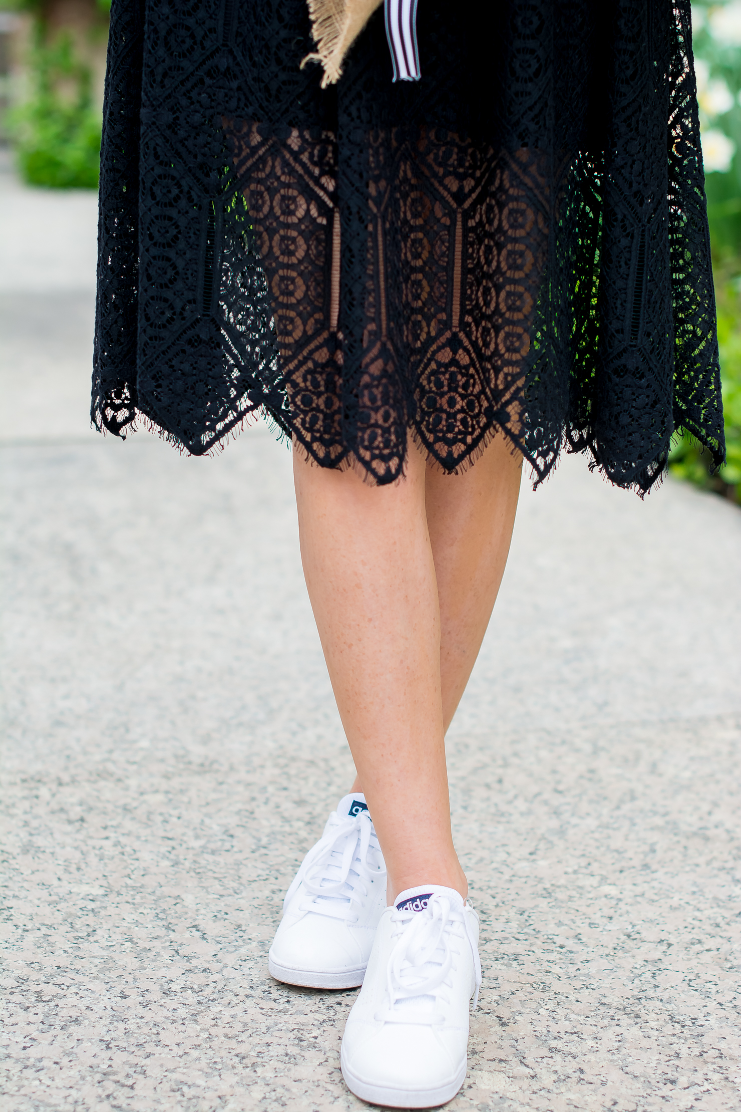 H&M-black-lace-midi-dress-adidas-neo-clean-sneakers