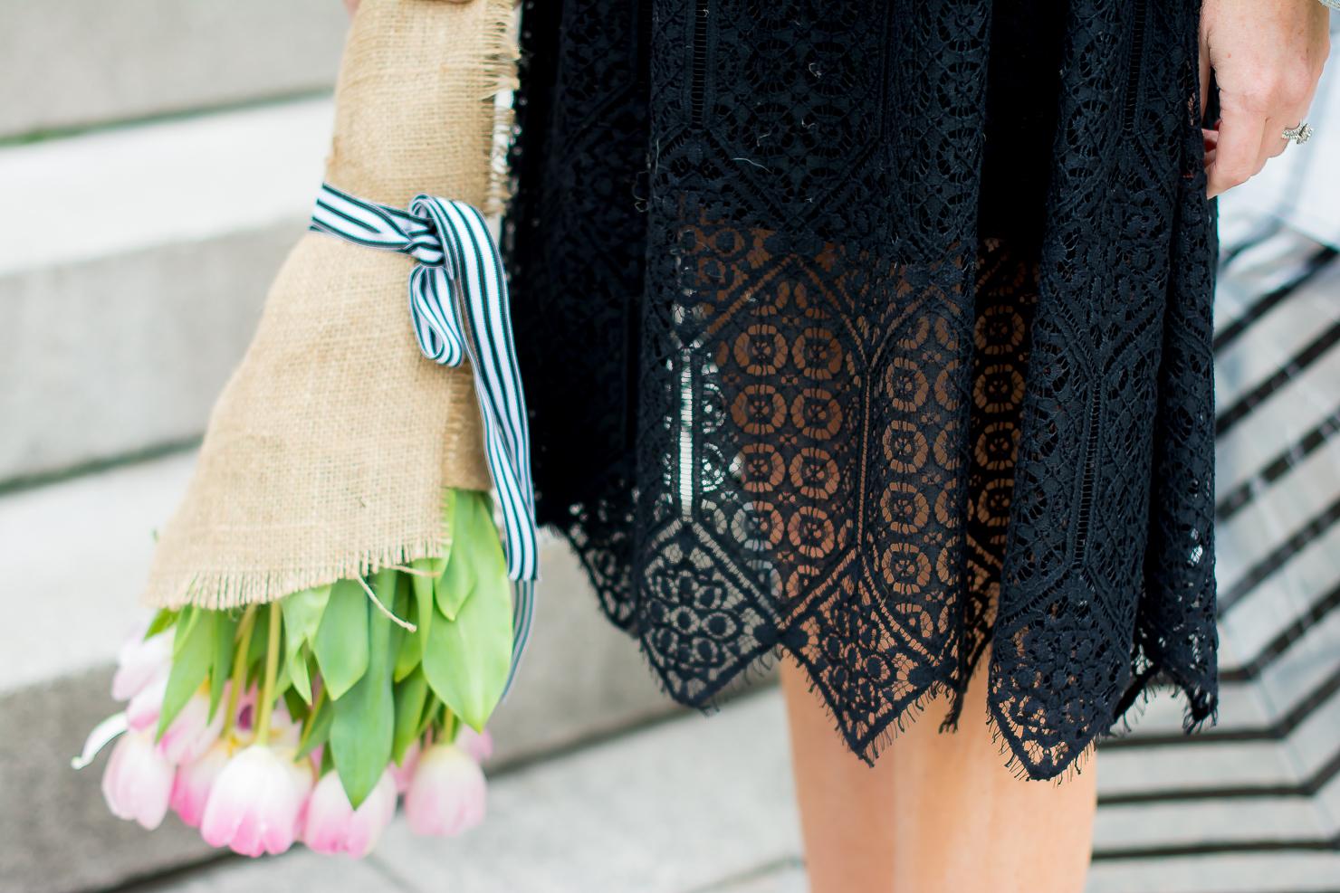 13caaccb56 H&M-black-lace-midi-dress-merona-denim-jacket-adidas-neo-clean -sneakers-pink-tulips-striped-bubble-umbrella-chicago-art-institute-30