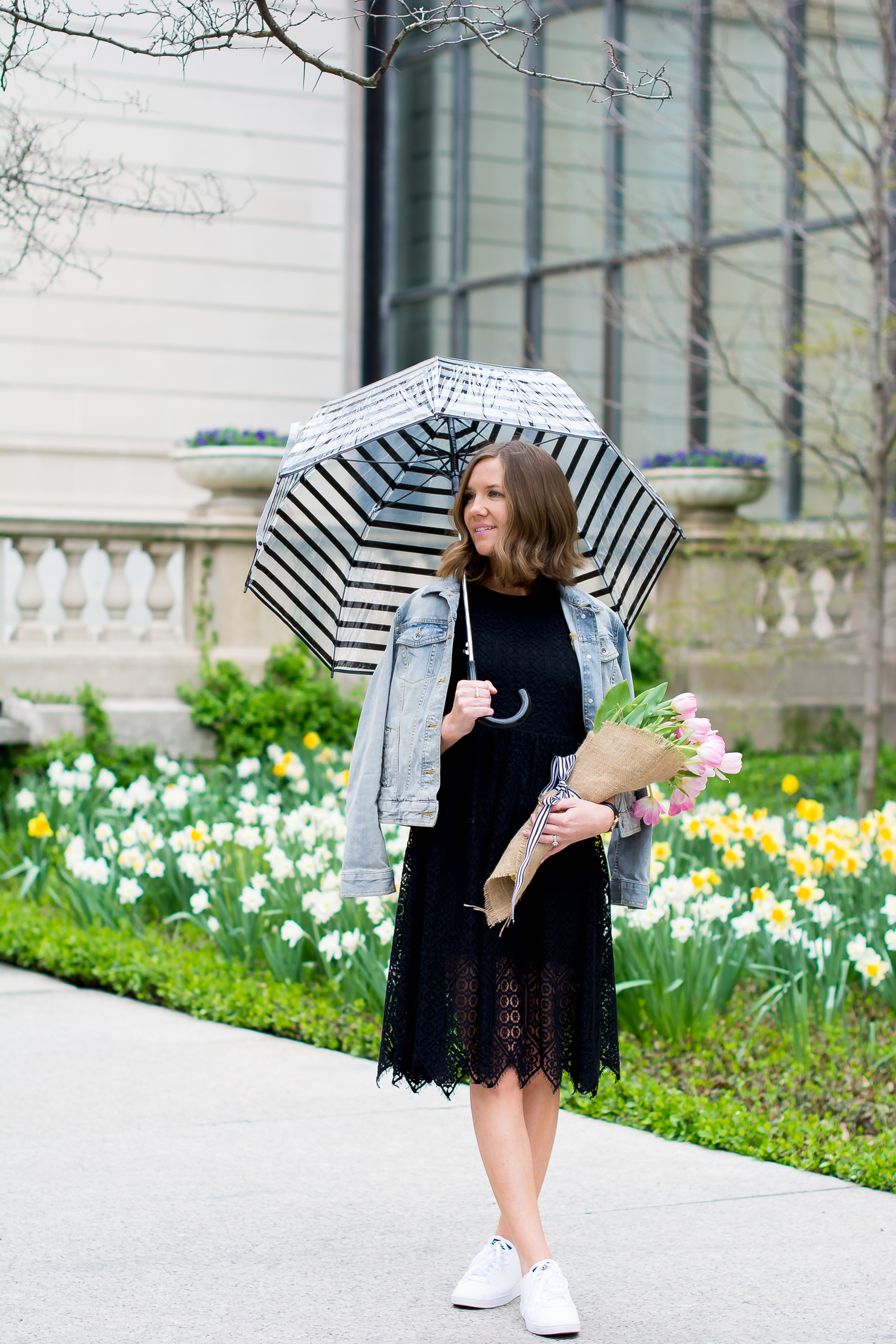 H&M-black-lace-midi-dress-merona-denim-jacket-adidas-neo-clean-sneakers-pink-tulips-striped-bubble-umbrella-chicago-art-institute
