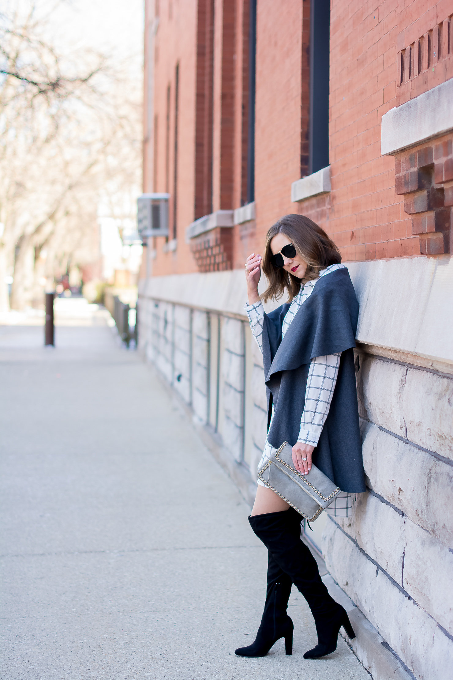 target grid print shirt dress, shein grey felt vest, steve madden gorgeous over the knee boots, karen walker harvest sunglasses, urban expressions grey chain clutch