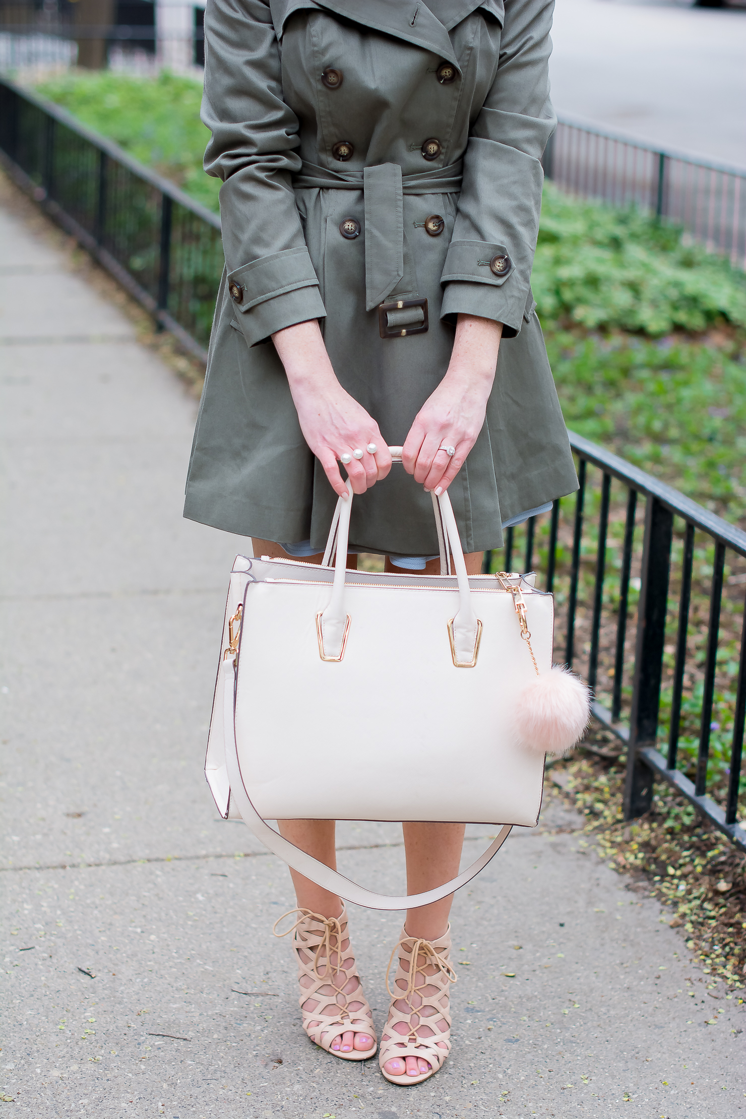 asos-skater-trench-h&m-blush-tote-blush-fur-bag-pompom-nude-lace-up-sandals-spring-in-chicago