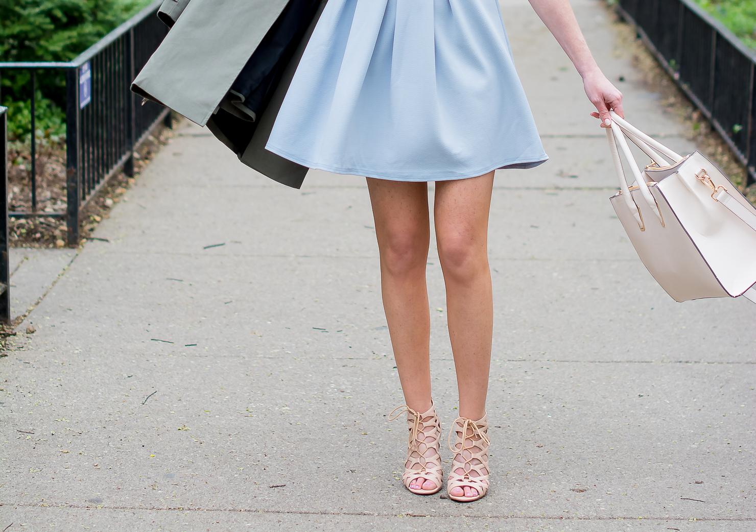 boo-hoo cold shoulder blue skater dress