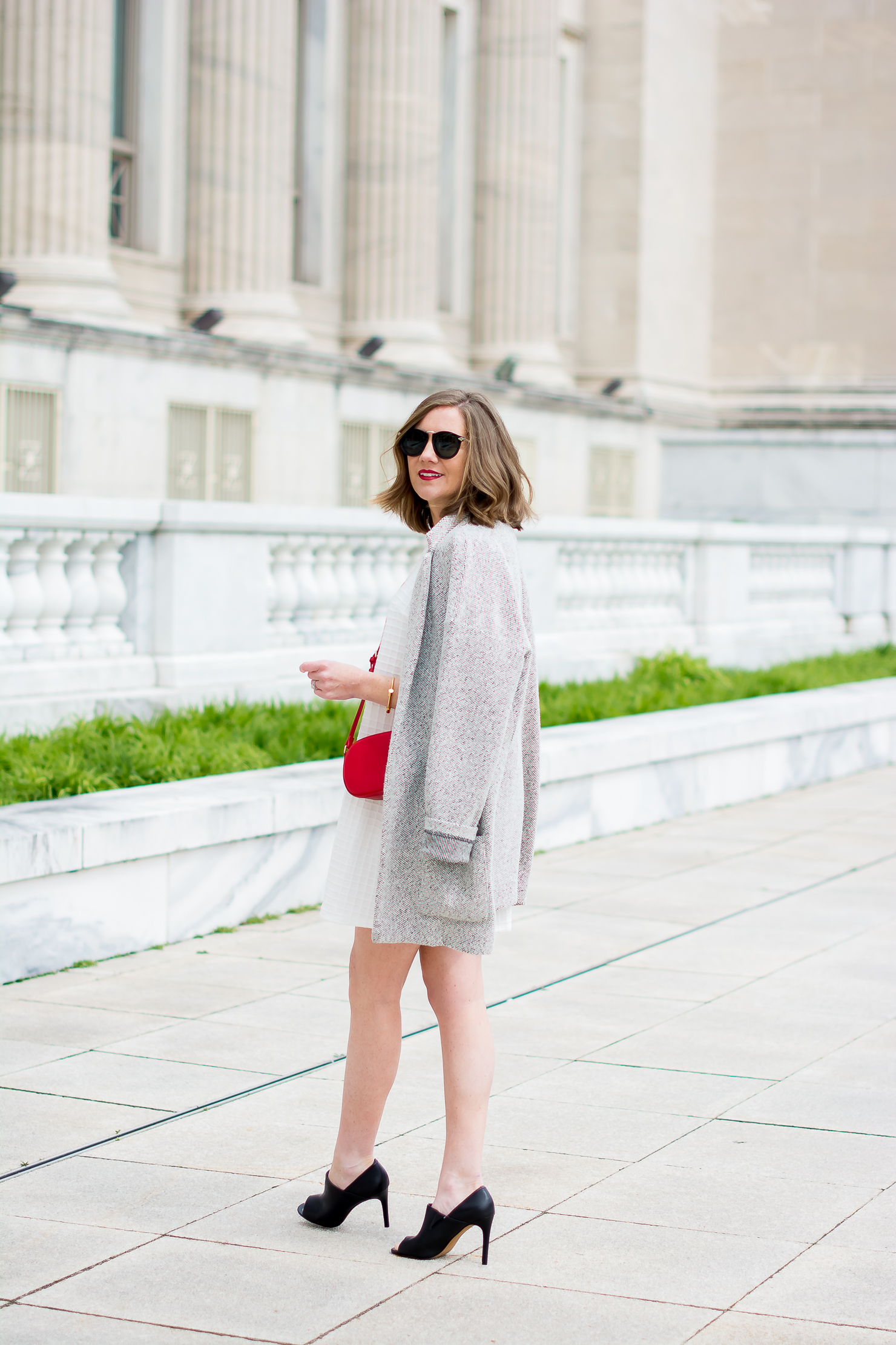 asos-textured-shift-dress-forever-21-marled-black-and-white-overcoat-black-peep-toe-booties-forever-21-red-crossbody-gucci-look-for-less-ditto-endless-eyewear
