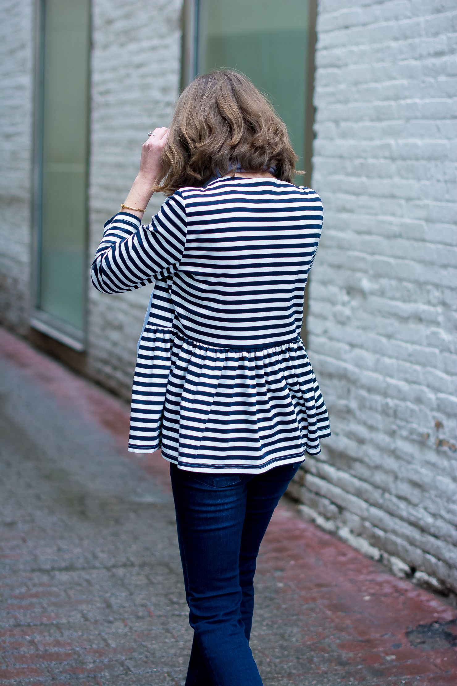 shein-blue-and-white-striped-peplum-jacket-high-rise-dark-wash-flares-white-pumps-rainy-day-spring-outfit