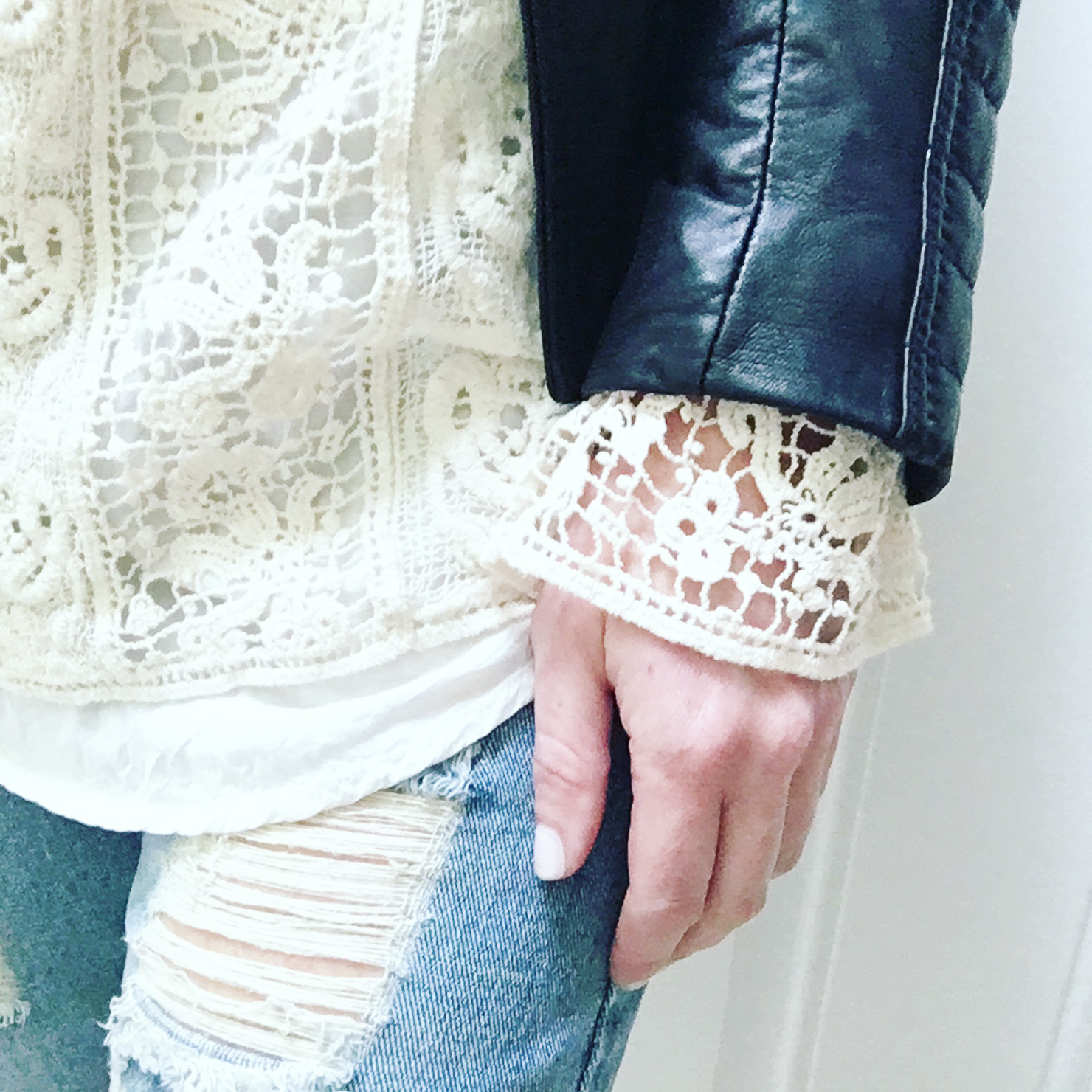 lace blouse, leather jacket and boyfriend jeans
