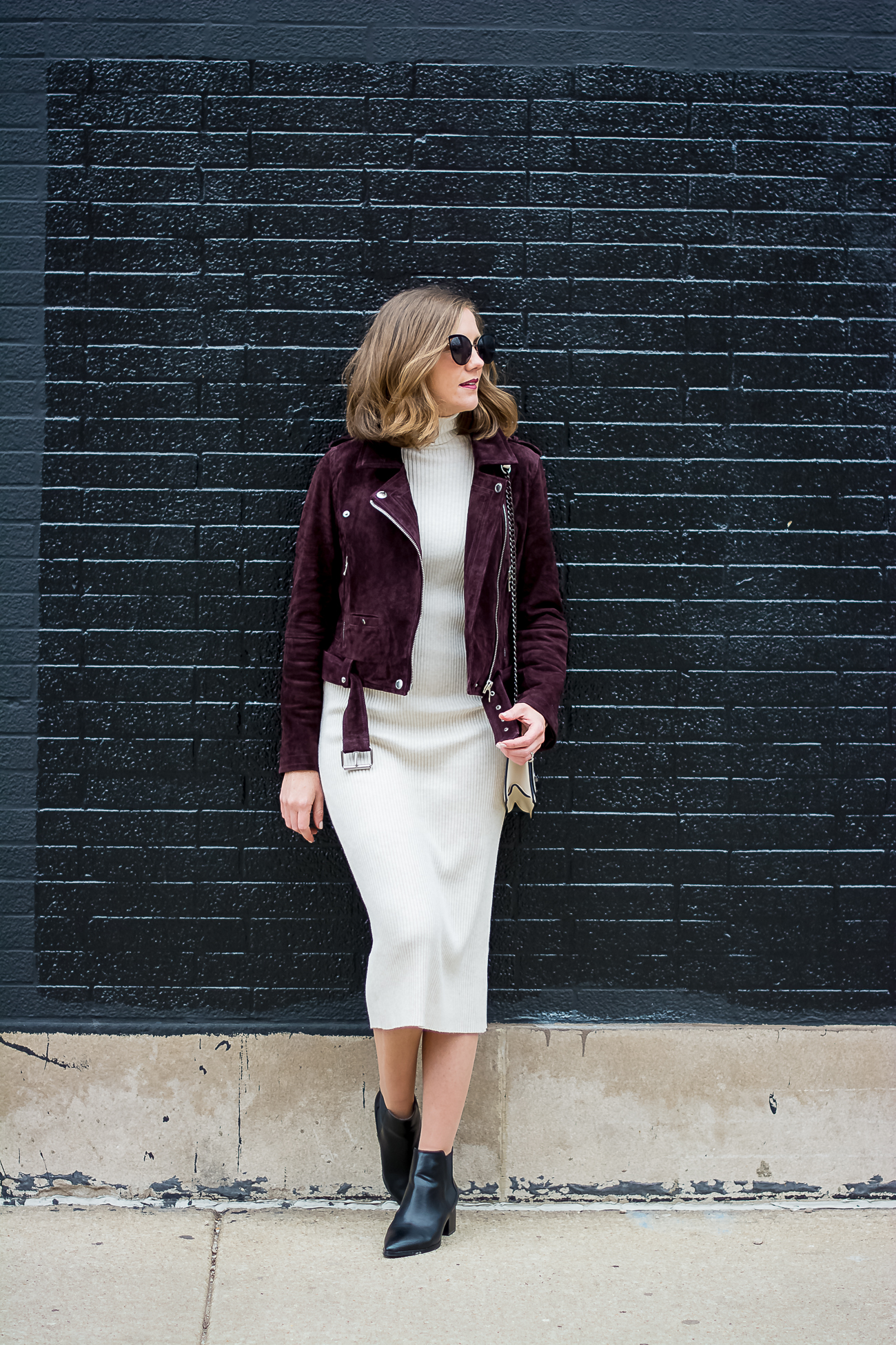 Edgy Spring Layers A Bodycon Midi Dress And A Suede Moto
