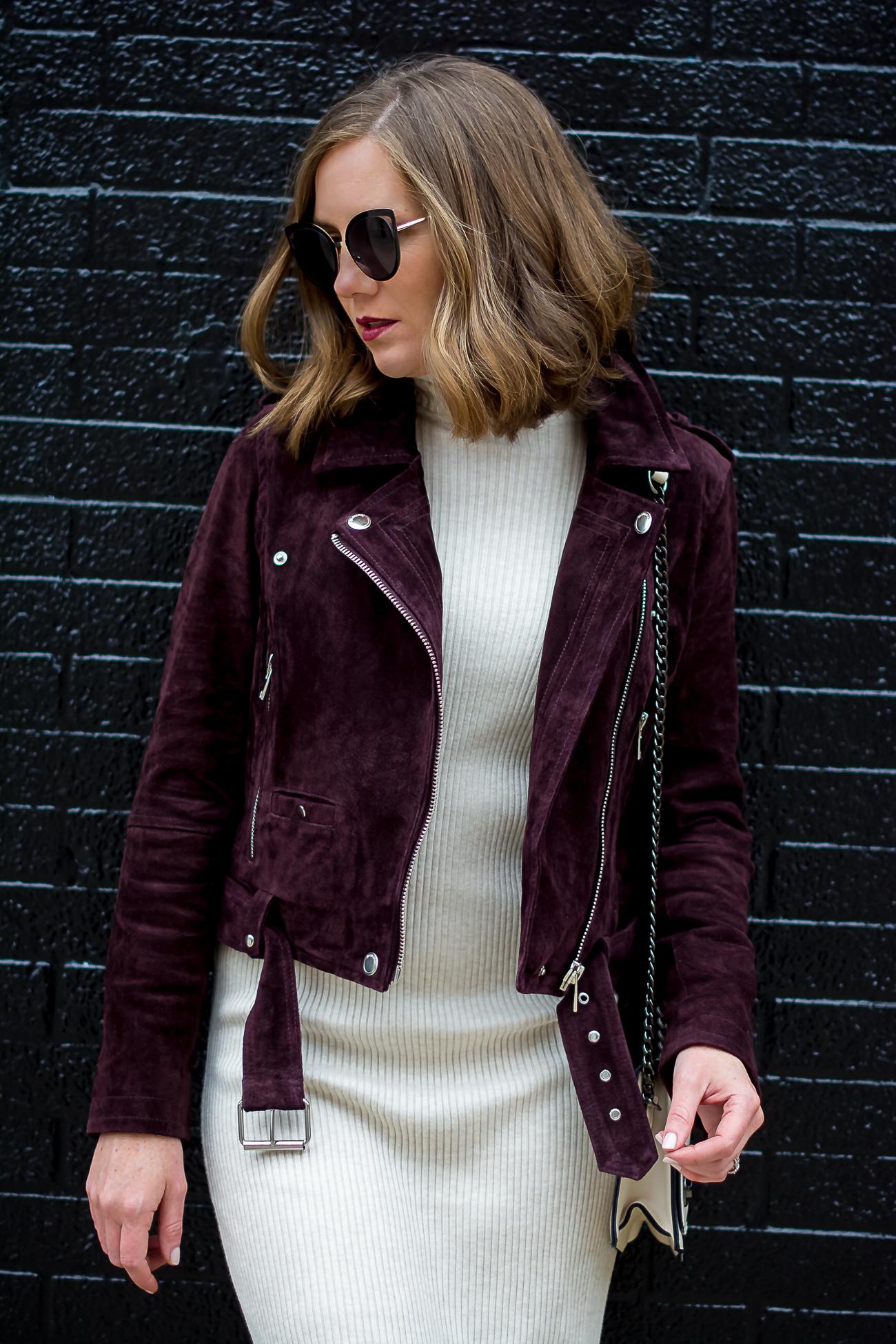 zara rib knit bodycon midi dress blank nyc burgundy suede