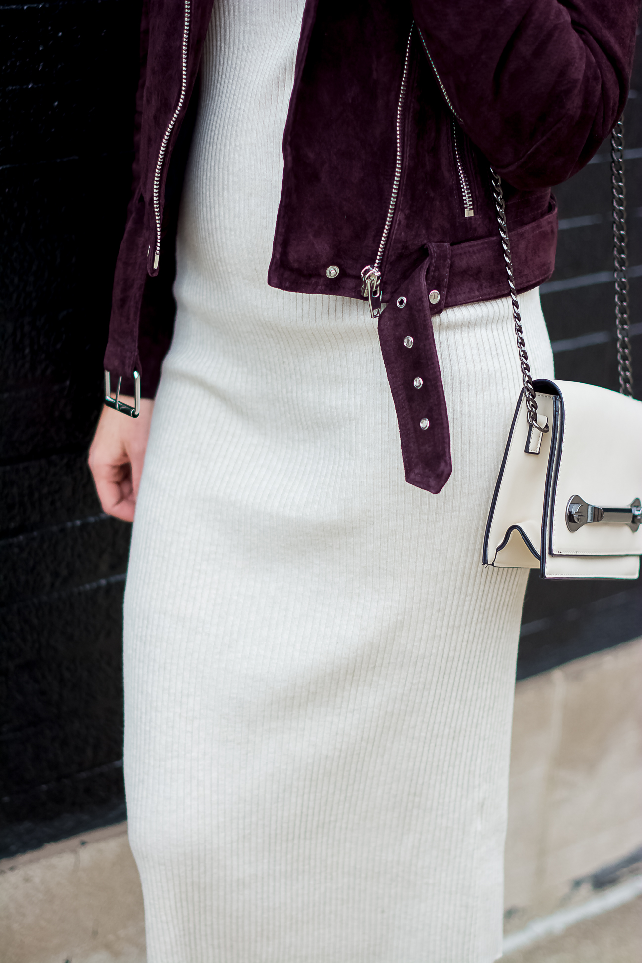 blank nyc burgundy suede moto jacket, forever 21 off white crossbody with metal hardware