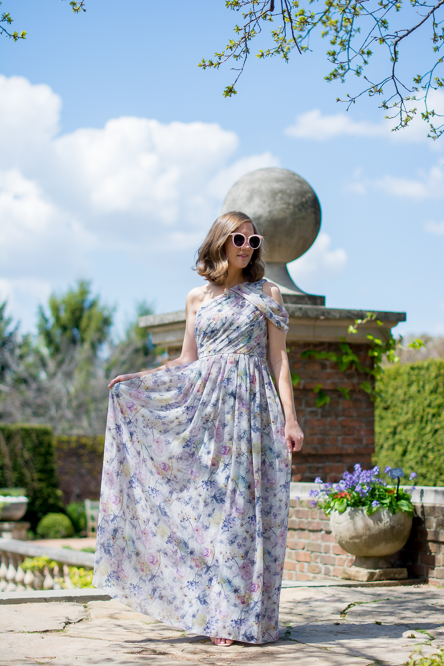 Slate-Willow-petal-pusher-gown-rent-the-runay-forever-21-pink-sunglasses-chicago-botanic-gardens