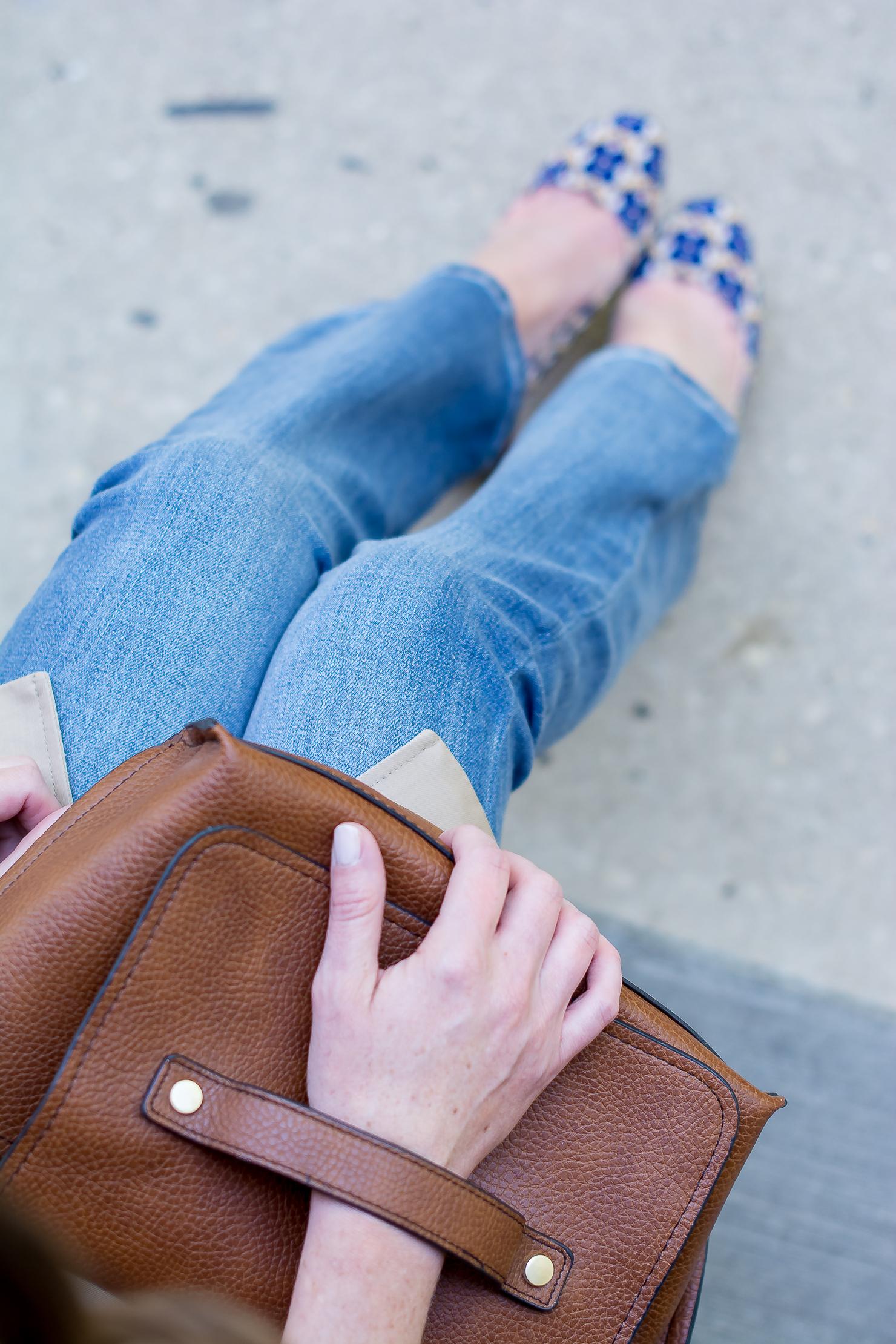 jcrew-cape-trench-dark-blue-chambray-hm-kick-flare-jeans-nine-west-printed-round-toe-pumps-zara-clutch-18
