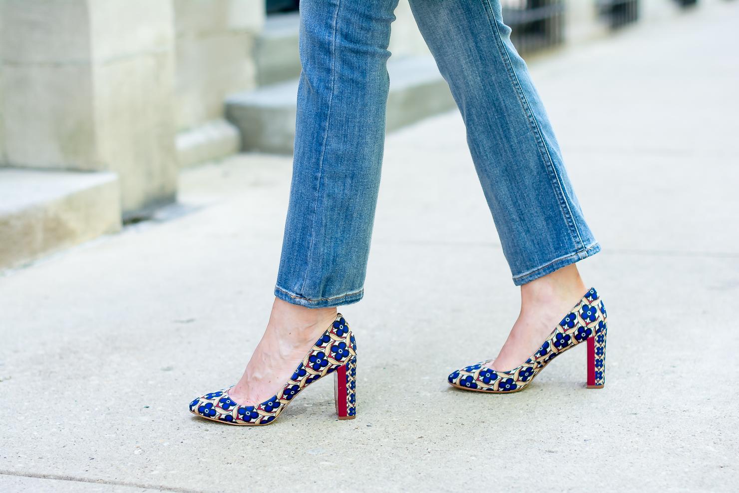 jcrew-cape-trench-dark-blue-chambray-hm-kick-flare-jeans-nine-west-printed-round-toe-pumps-zara-clutch-24