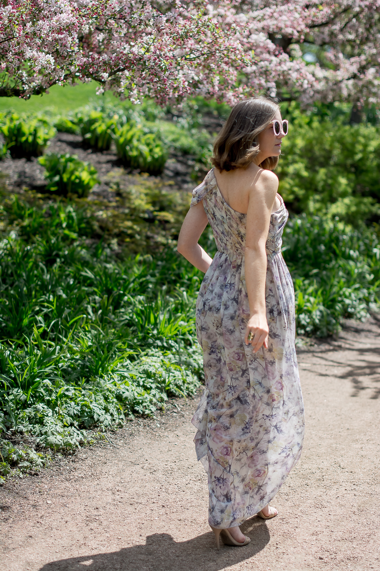 slate-and-willow-petal-pusher-gown-forever-21-pink-sunglasses-rent-the-runway-chicago-botanic-gardens