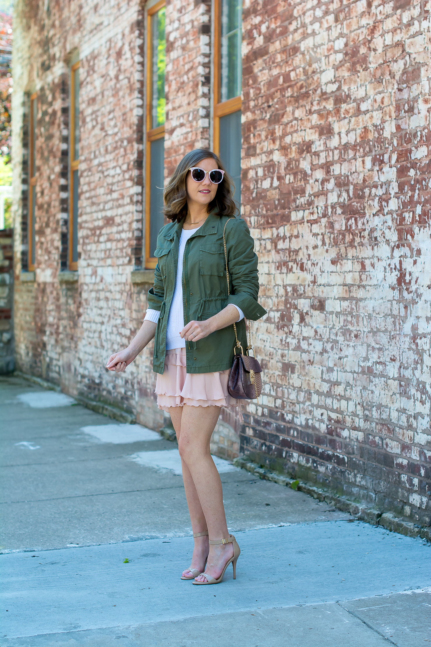 utilitarian-ruffles-who-what-wear-for-target-ruffled-skirt-white-sweater-old-navy-utility-jacket-forever-21-pink-sunglasses-chloe-drew-dupe-snakeskin-print