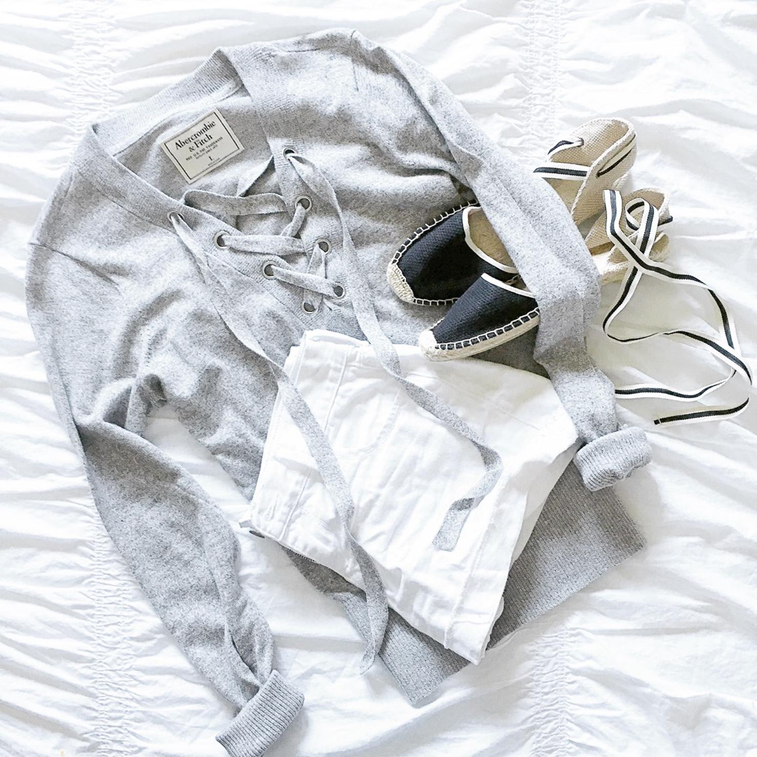 abercrombie-lace-up-sweater-white-denim-shorts-soludos-espadrilles
