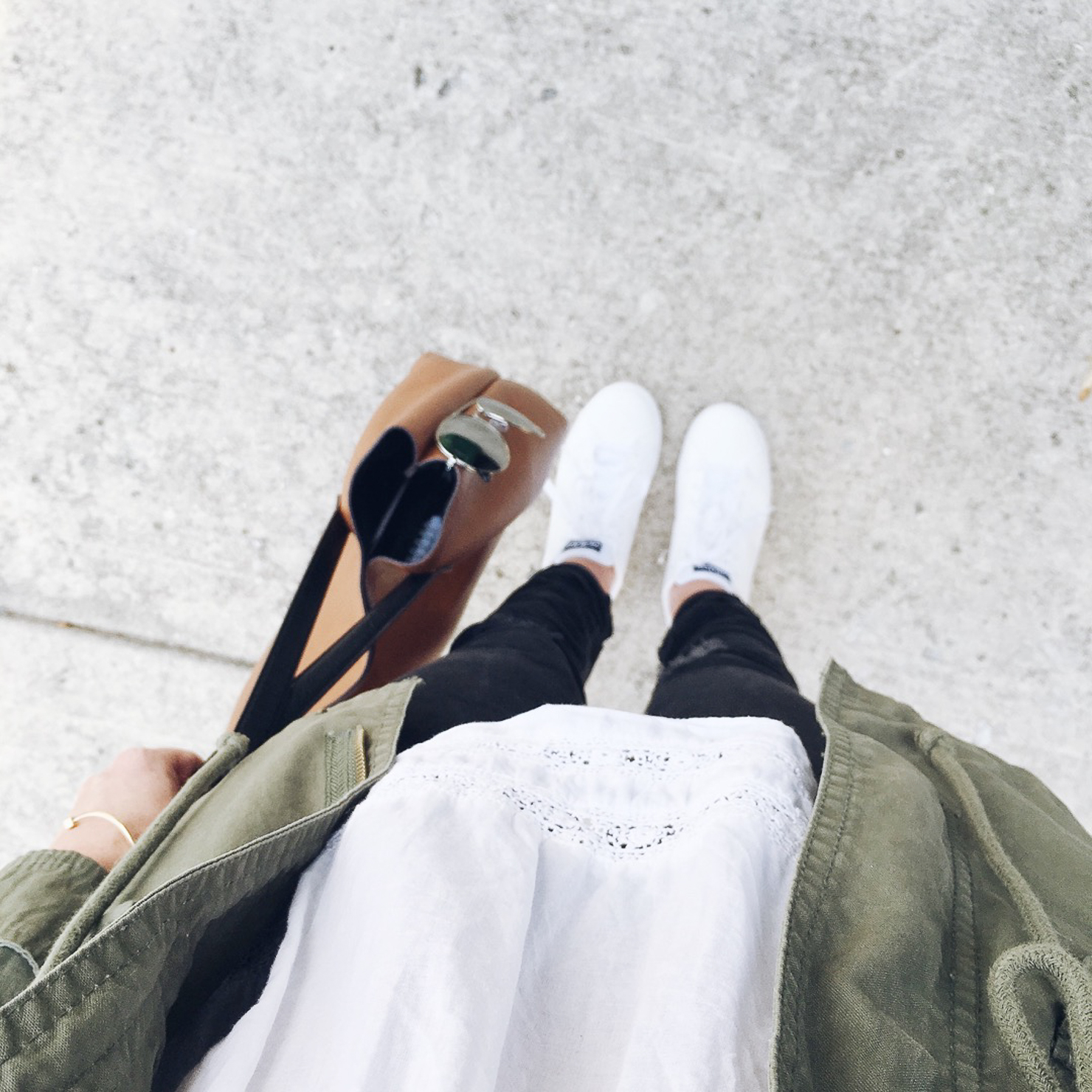 adidas-neo-advantage-sneakers-white-eyelet-blouse-old-navy-cargo-jacket-mirrored-aviators-errands-outfit-casual-style