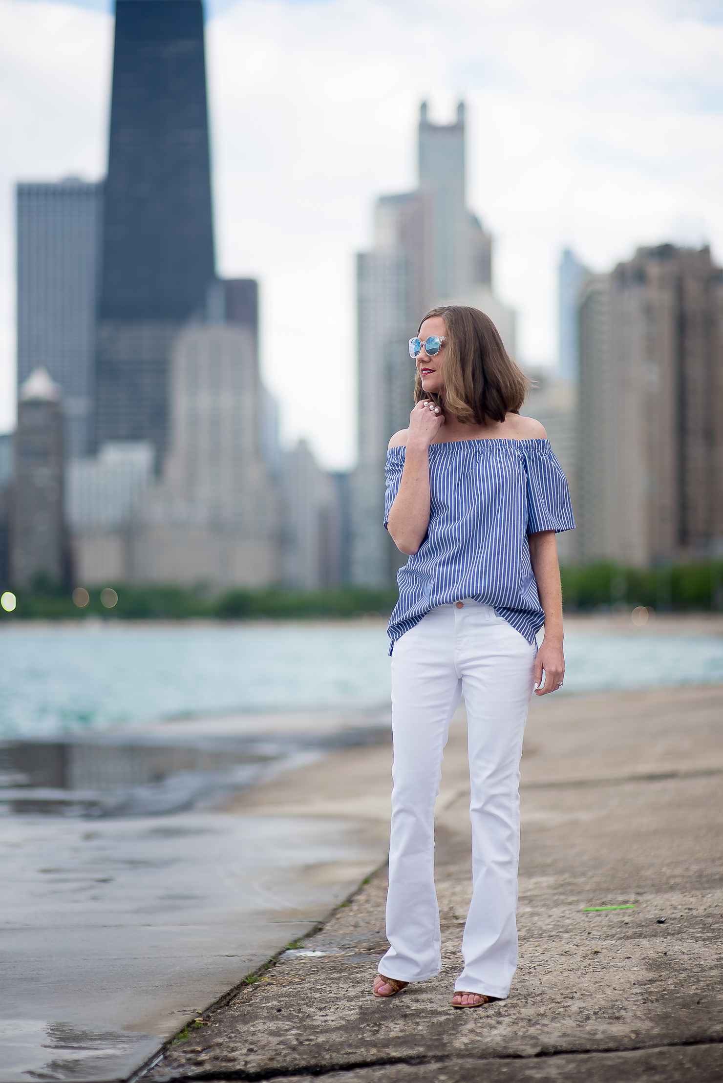 banana-republic-blue-striped-off-the-shoulder-top-white-flared-jeans-chicago-skyline-north-ave-beach