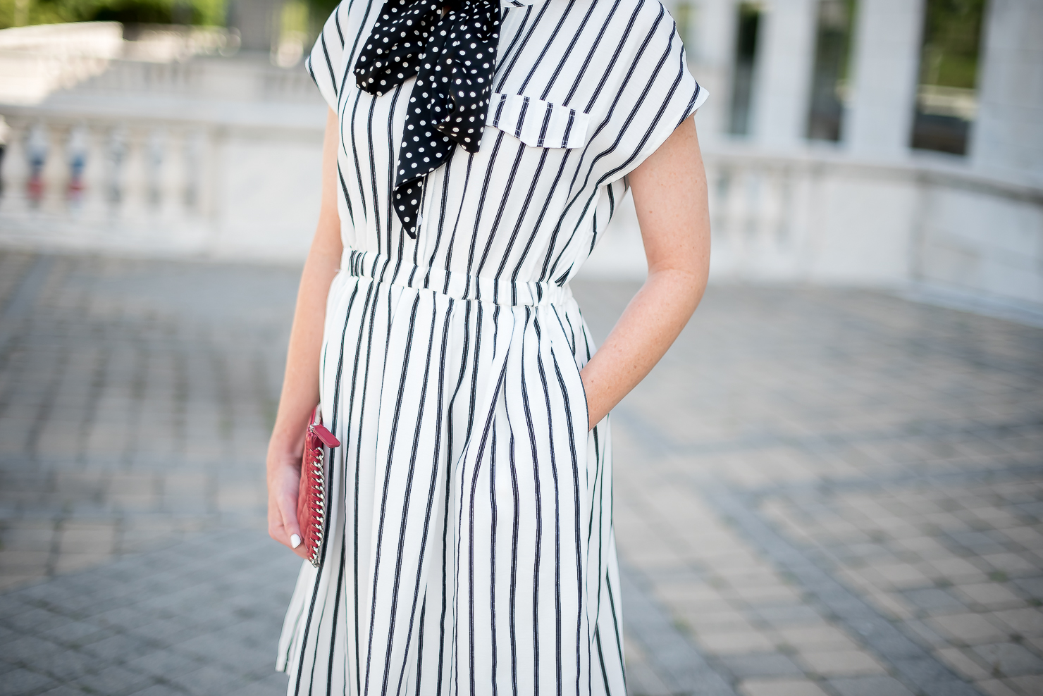 print-mixing-choies-white-and-black-striped-dress-forever-21-red-quilted-chain-clutch-black-and-white-polka-dot-neck-scarf