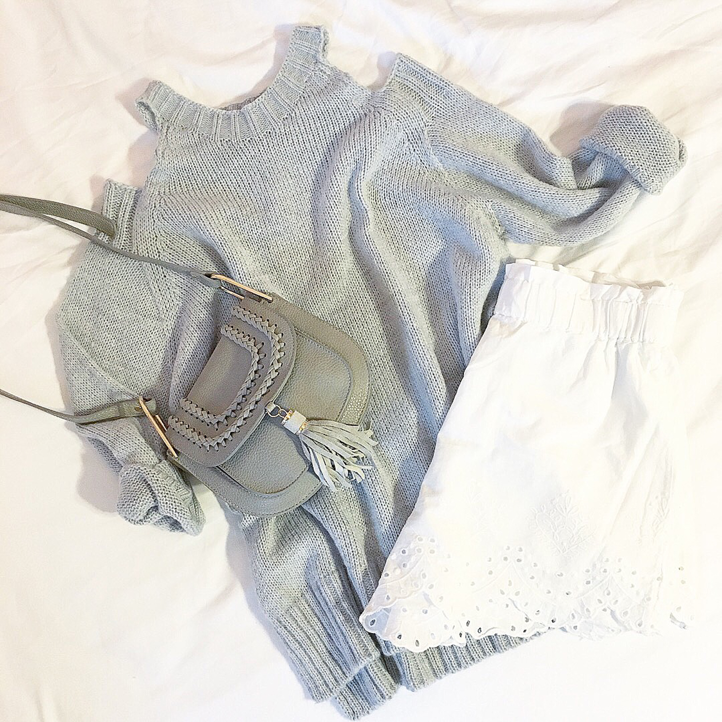 grey-boohoo-cold-shoulder-sweater-white-hm-eyeley-shorts-grey-chloe-hudson-dupe