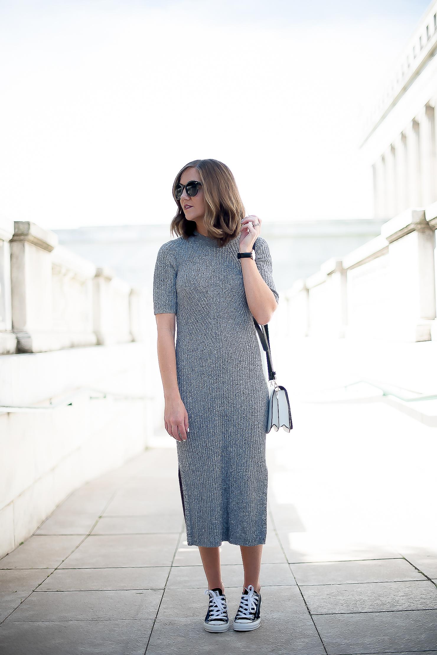 6ce33590c07 hm-grey-cotton-ribbed-midi-dress-black-converse-white-sole-society ...