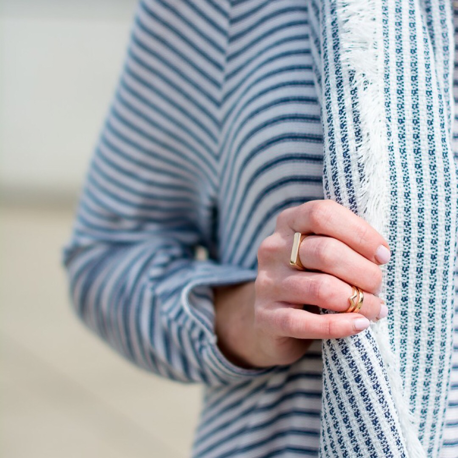 new-look-blue-and-white-peplum-sweater-forever-21-blue-striped-scarf-gold-rings
